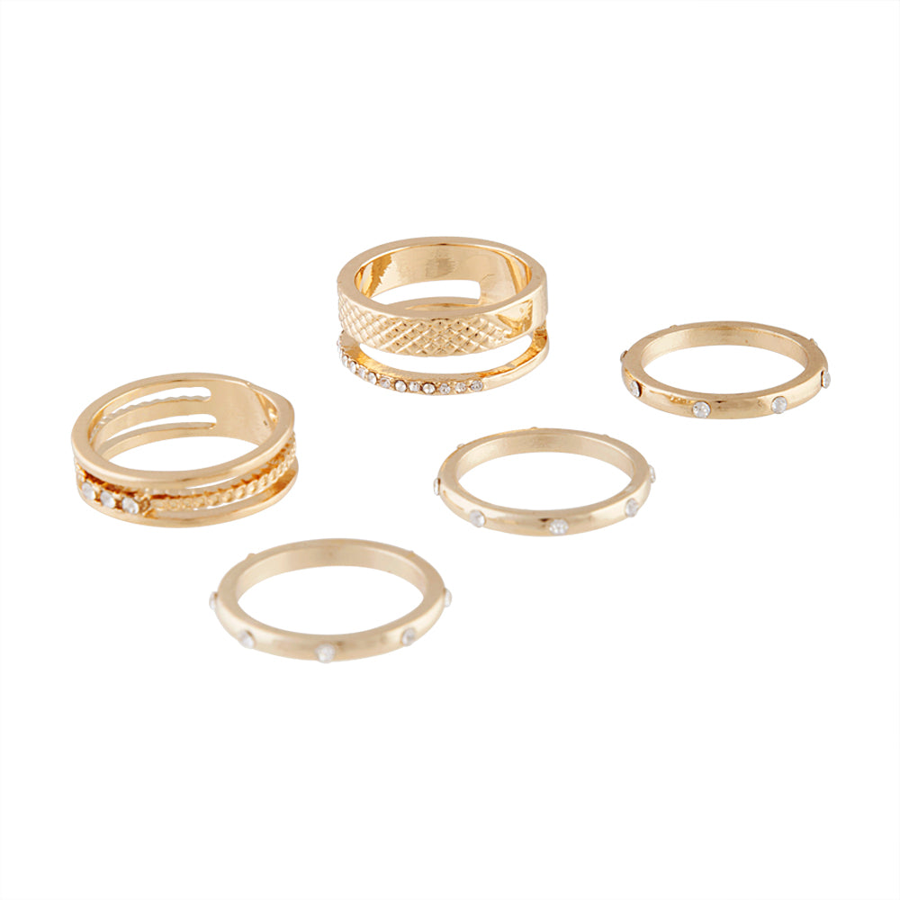 Gold Texture Diamante Band Ring Pack