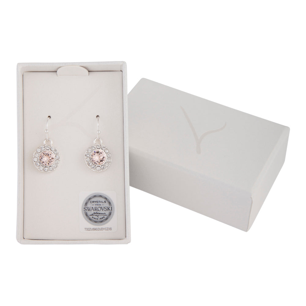PEACH ROUND CRYSTAL DROP EARRING