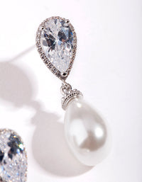 Rhodium Diamond Simulant Pearl Drop Earring - link has visual effect only