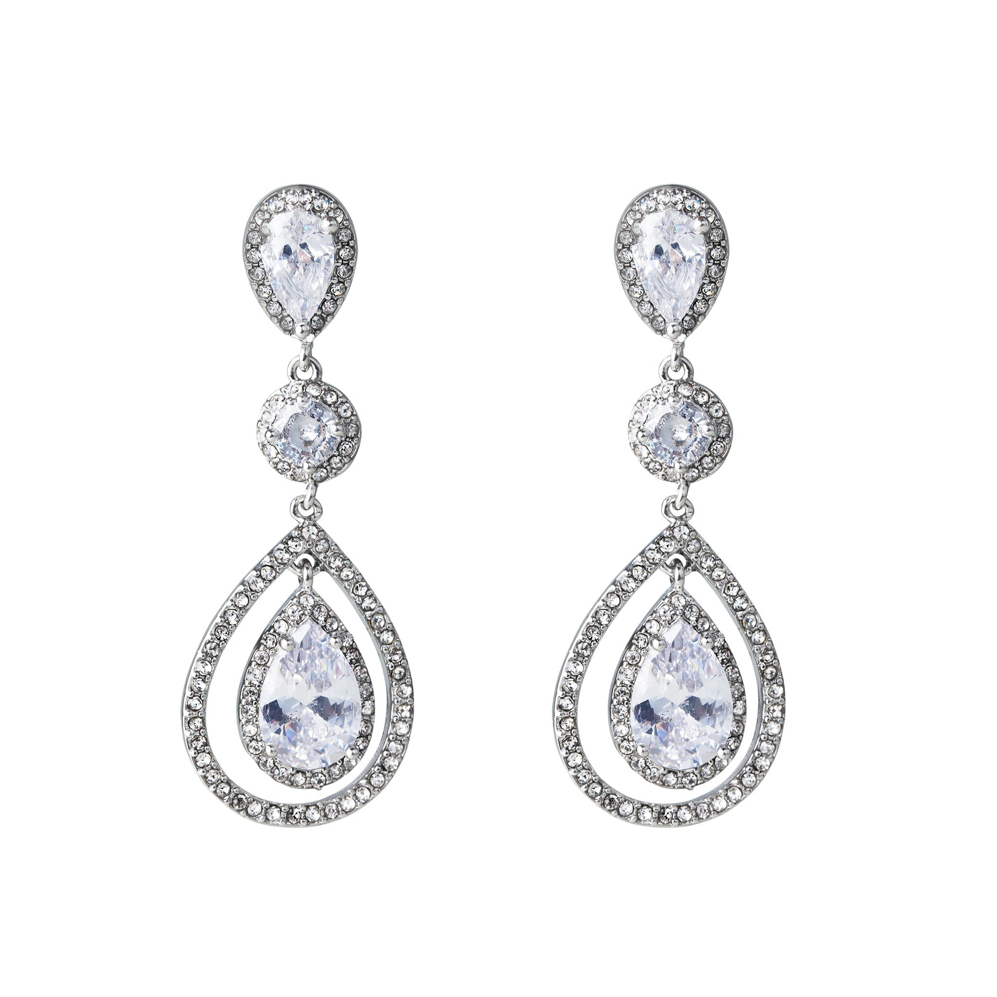 Graduated Crystal Teardrop Earring
