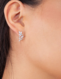 Flower Navette Crystal Stud - link has visual effect only