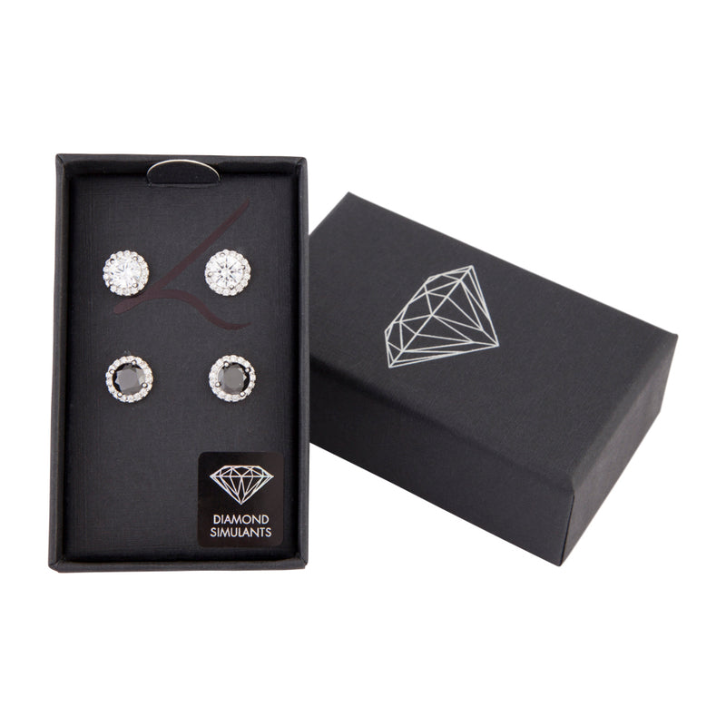 Black & Crystal Rounded Studs
