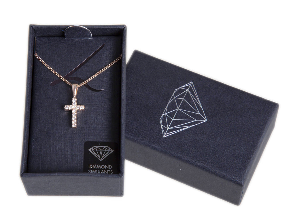Rose Gold Crystal Cross Pendant Necklace