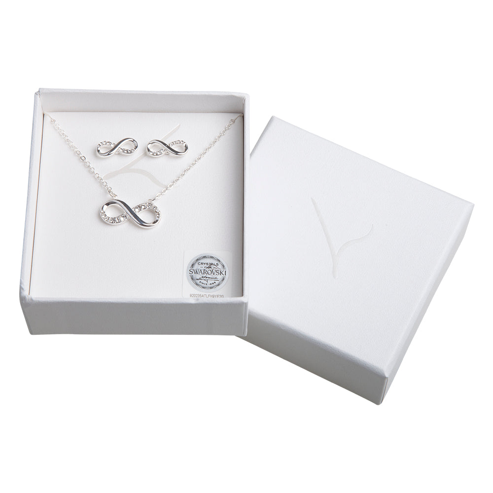 Crystal Infinity Necklace And Earring Set