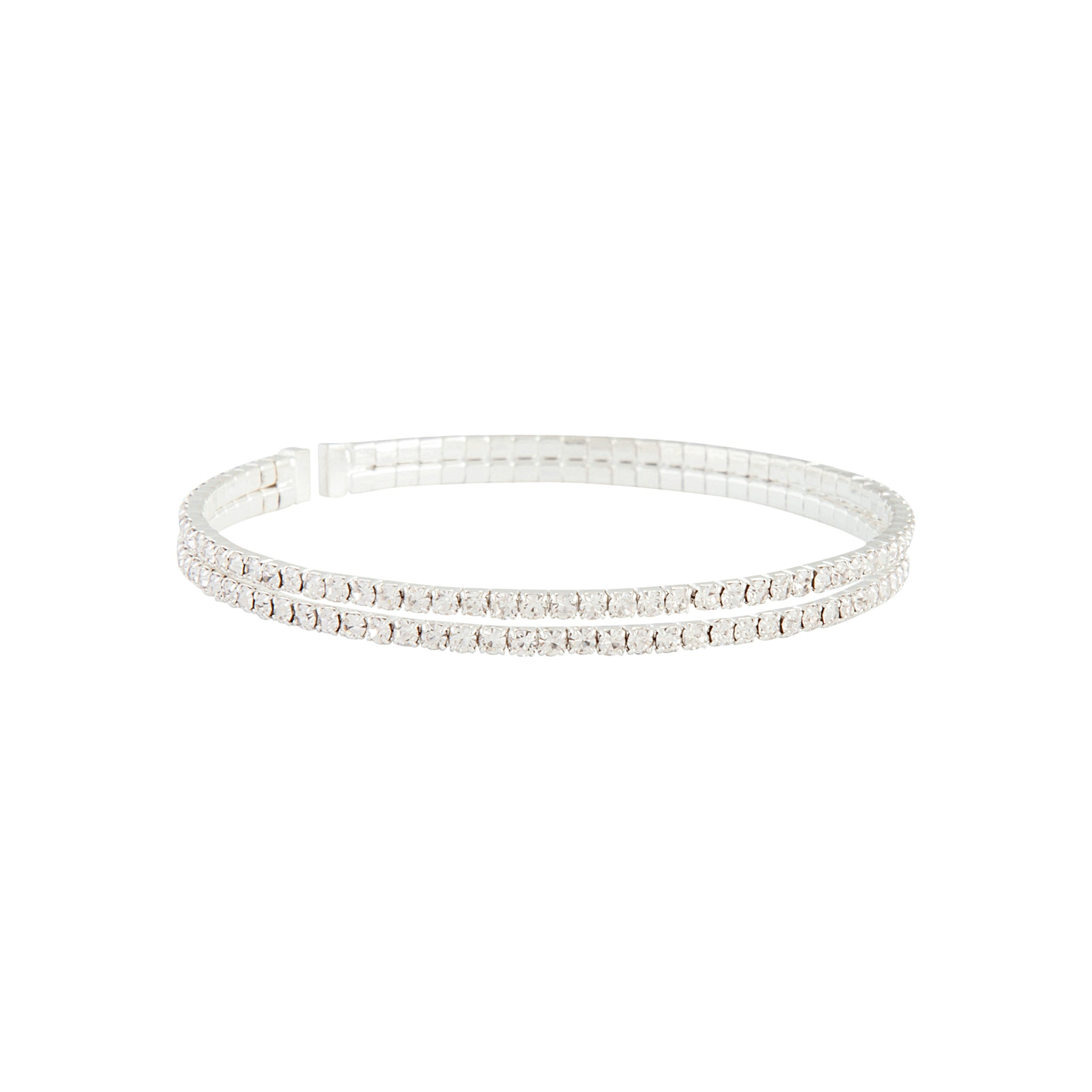 Silver Double Diamante Bangle