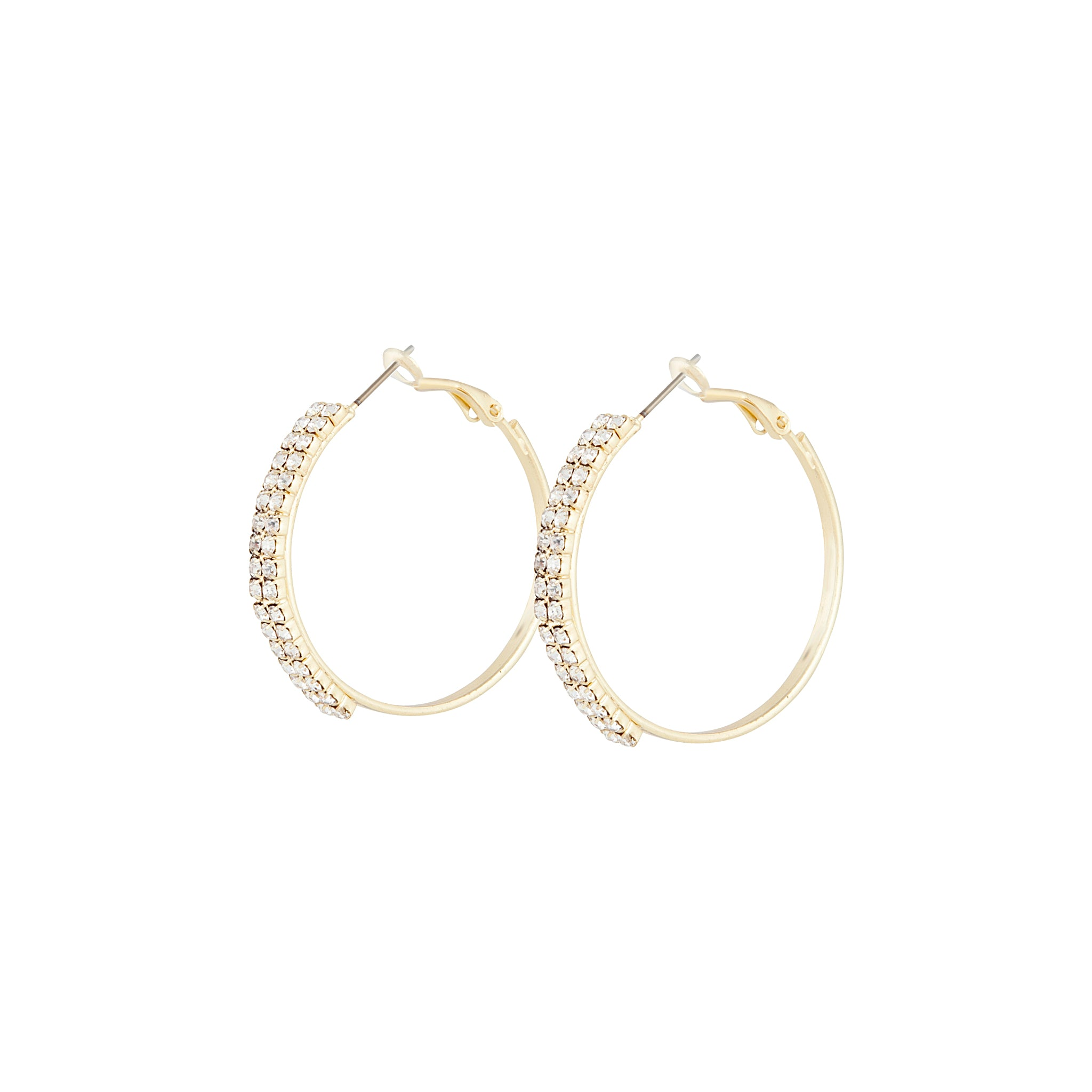 Gold Medium Diamante Hoop Earring