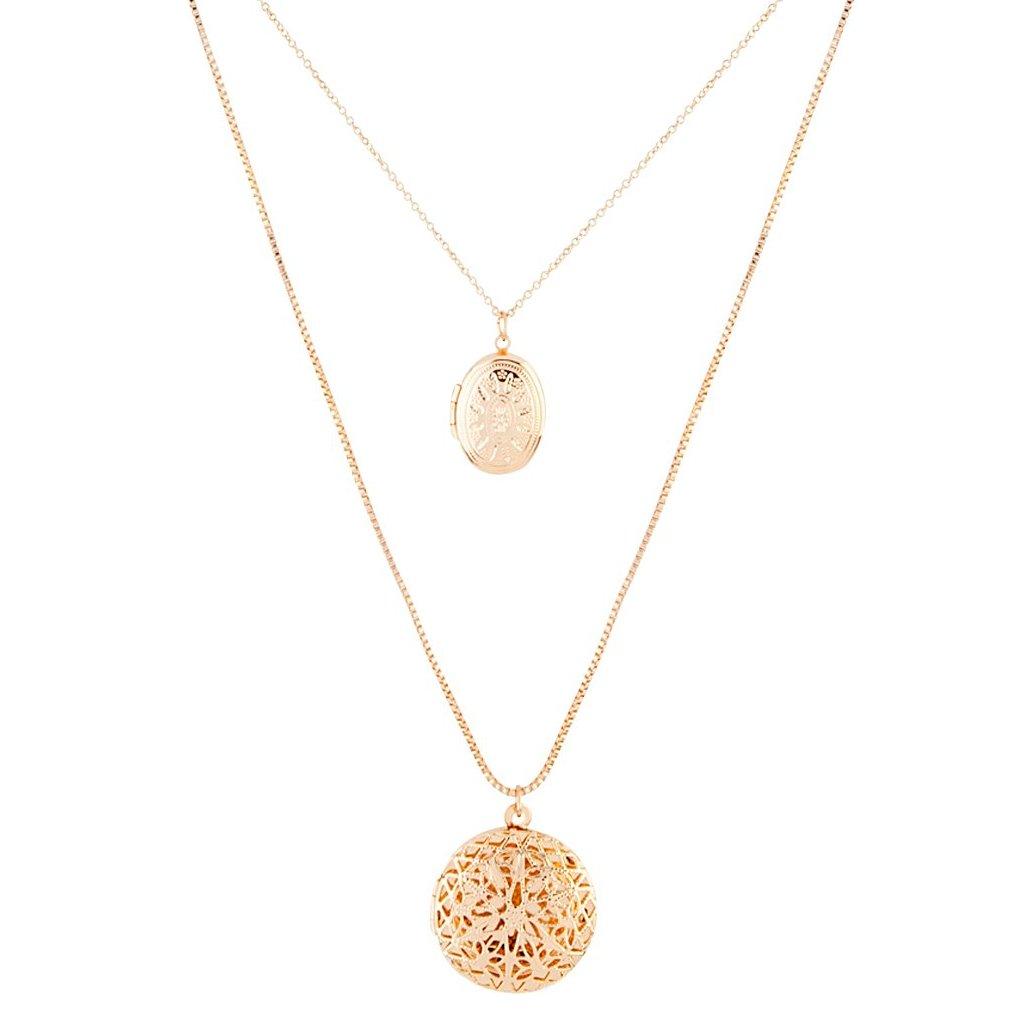 Gold Multi Layer Locket Pendant Necklace Set