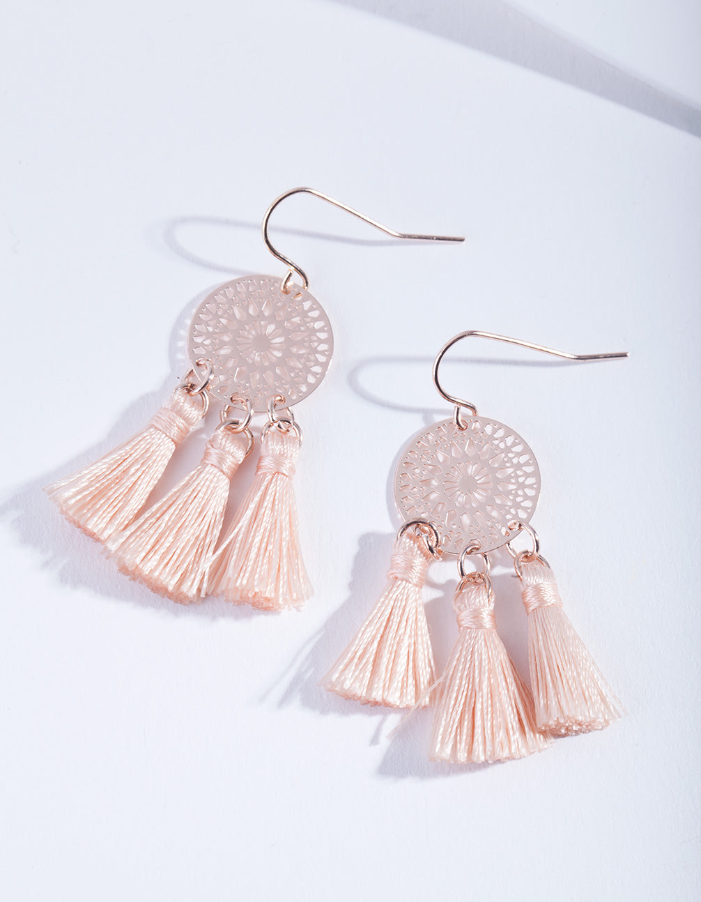 Rose Gold Dreamcatcher Tassel Earring