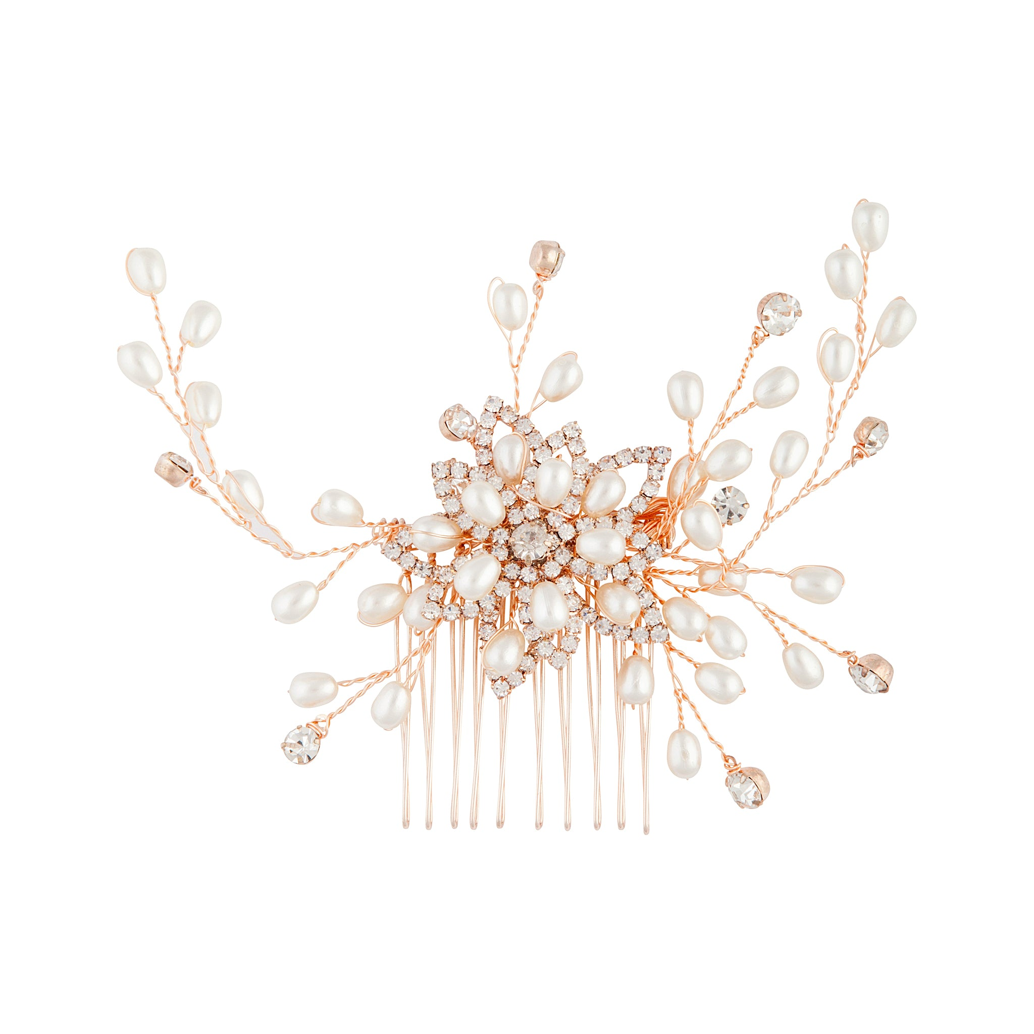 Rose Gold Floating Pearl Diamante Comb