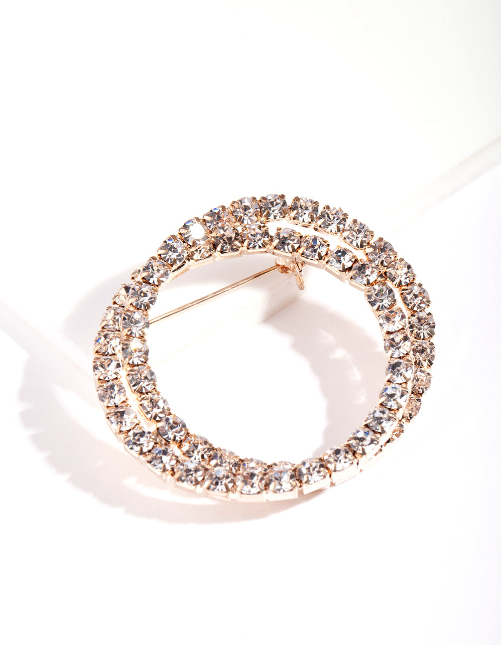 Rose Gold Double Diamante Brooch