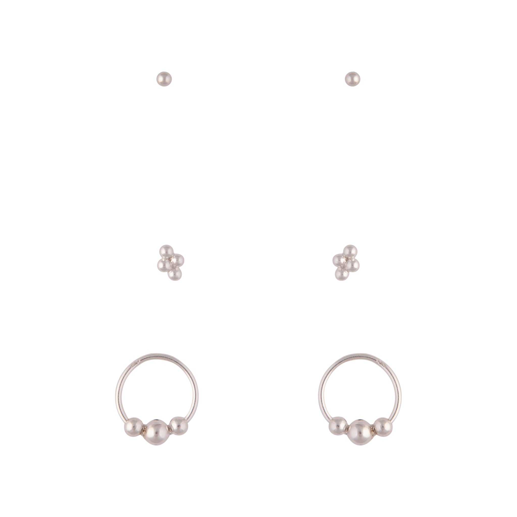 Sterling Silver Ball Cluster Earring 3 Pack