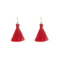 Gold Red Mini Tassel Earring
