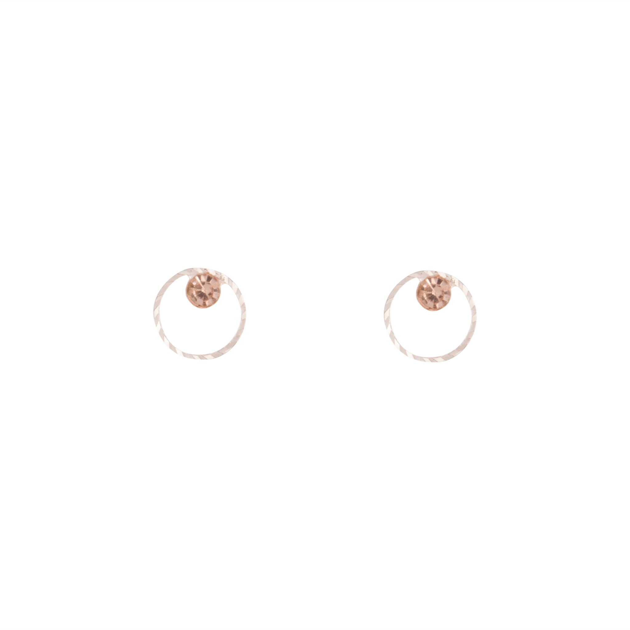 Rose Gold Geometric Circle Diamante Stud Earring