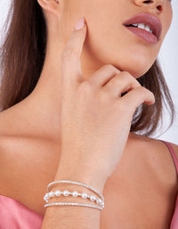 Silver Pearl Diamante Cup Chain Cuff - link has visual effect only