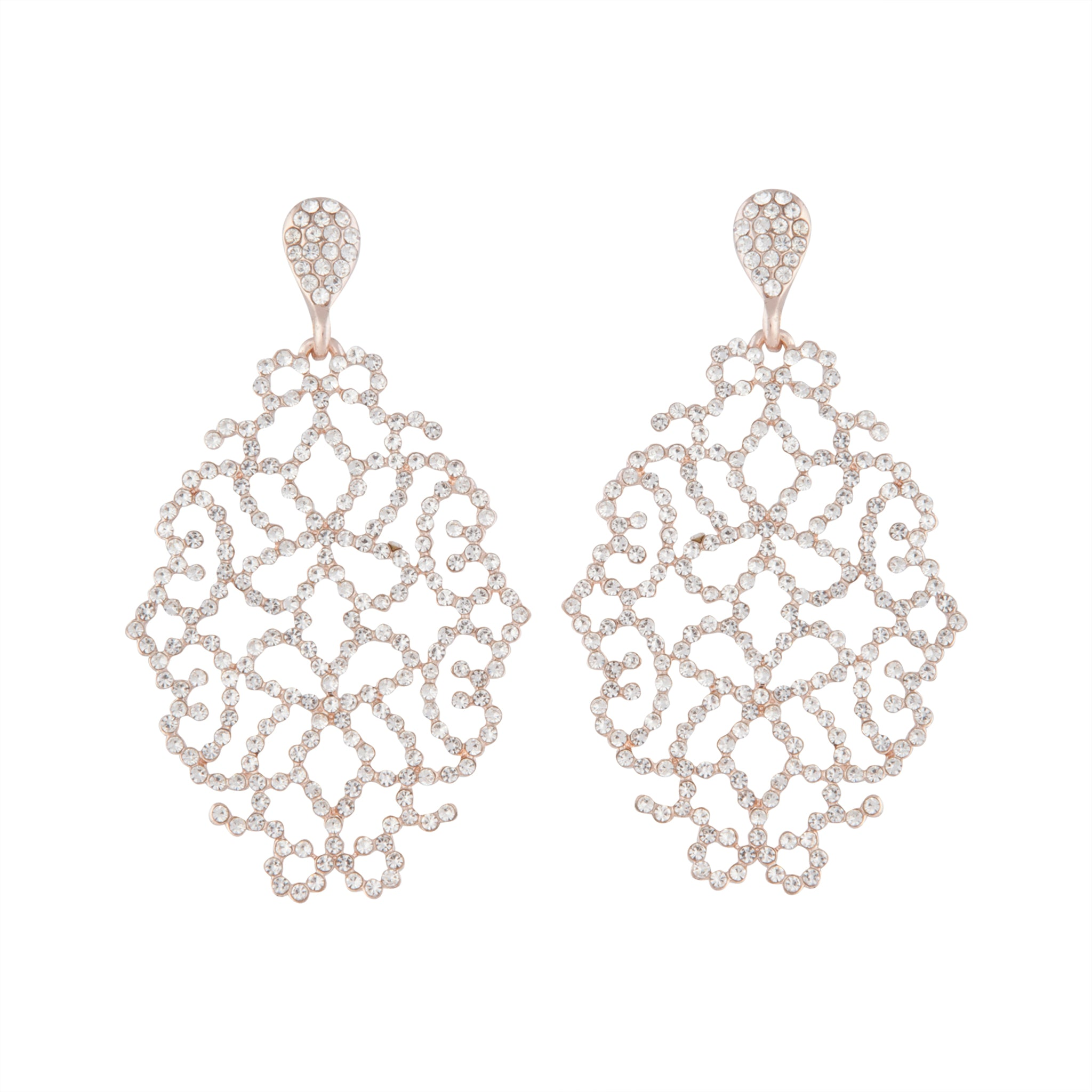 Rose Gold Diamante Intricate Stone Earring