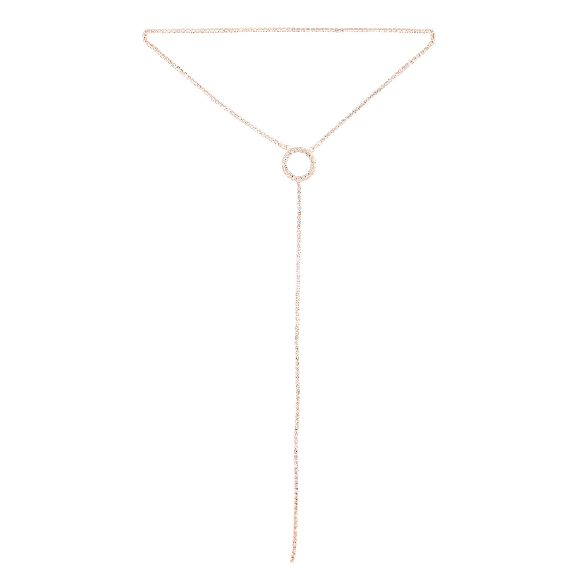 Rose Gold Circle Cup Chain Y Neck Choker