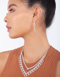 Rose Gold Diamante Earring Necklace Leaf Set - link has visual effect only