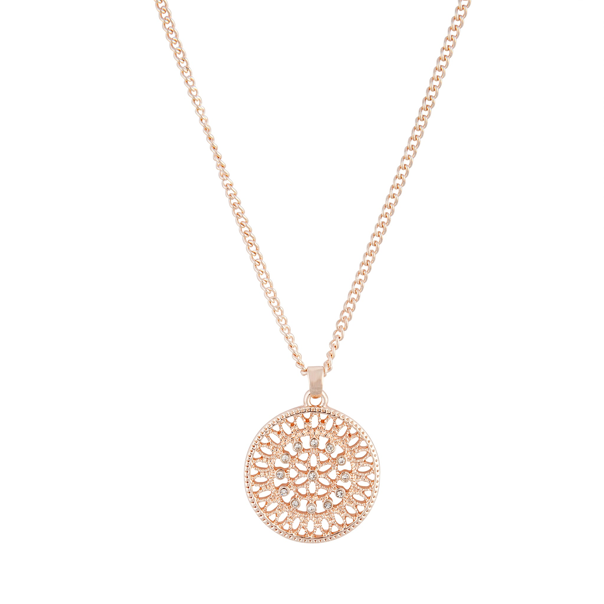 Rose Gold Diamante Disc Filigree Necklace