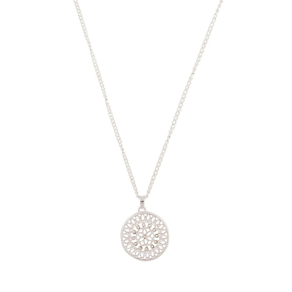 Silver Diamante Disc Filigree Necklace