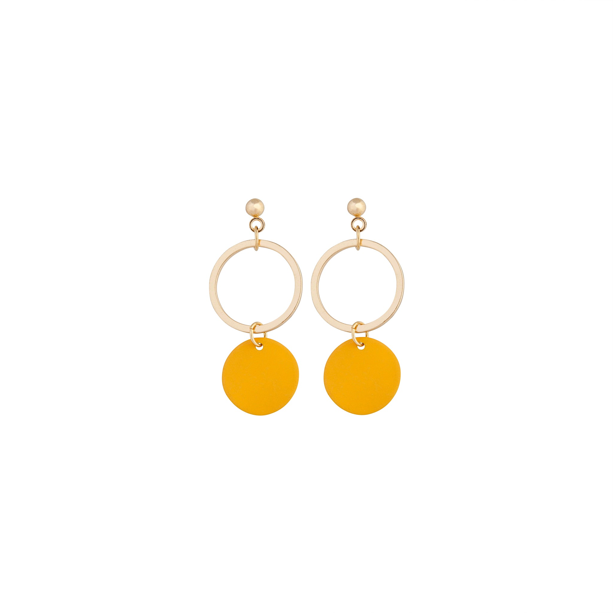 Gold Yellow Circle Disc Earring