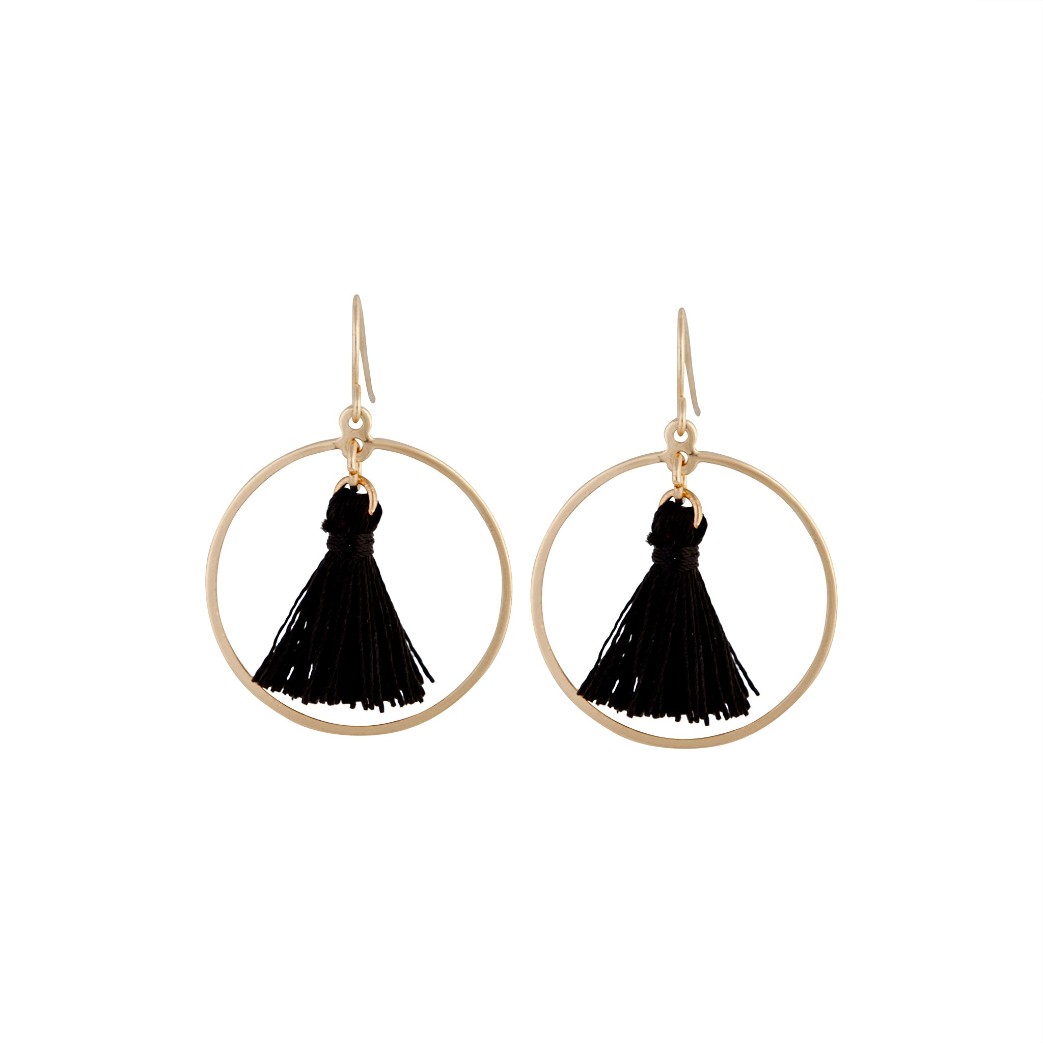 Gold Black Circle Tassel Drop Earring