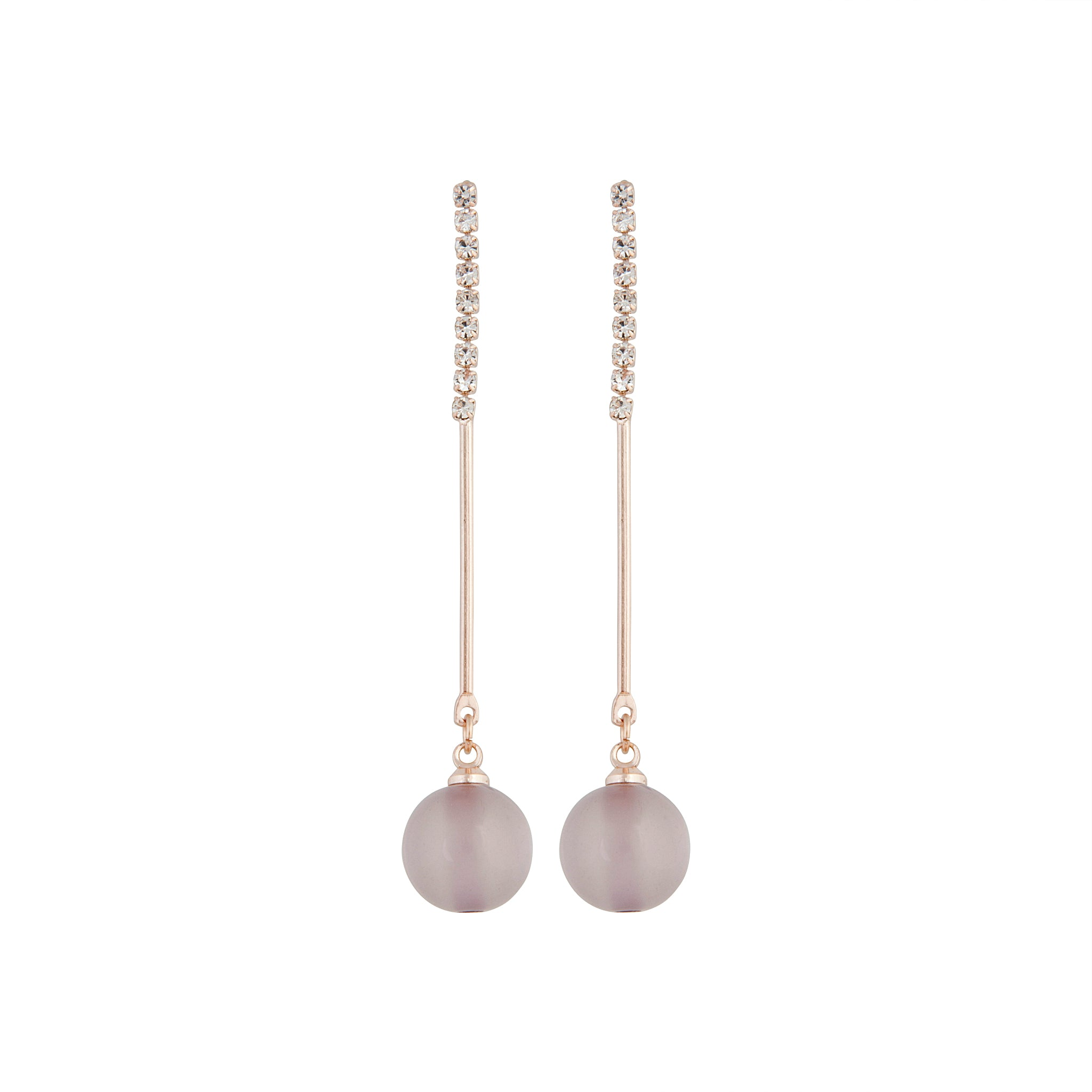 Rose Gold Diamante Stick Cat Eye Earring