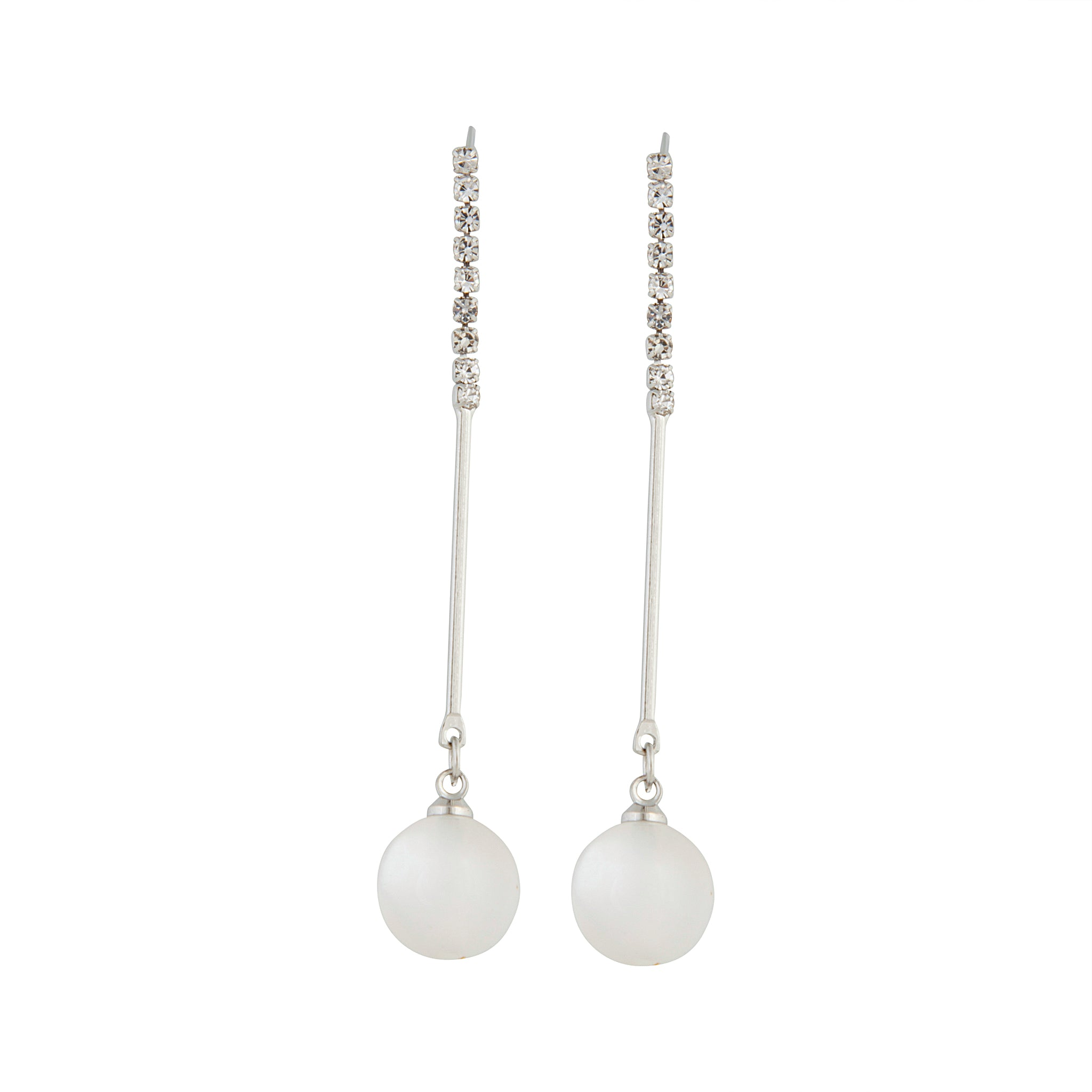 Rhodium Diamante Pearl Stick Cat Eye Earring
