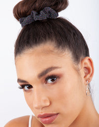 Black Blue Glitter Satin Scrunchie 3 Pack - link has visual effect only