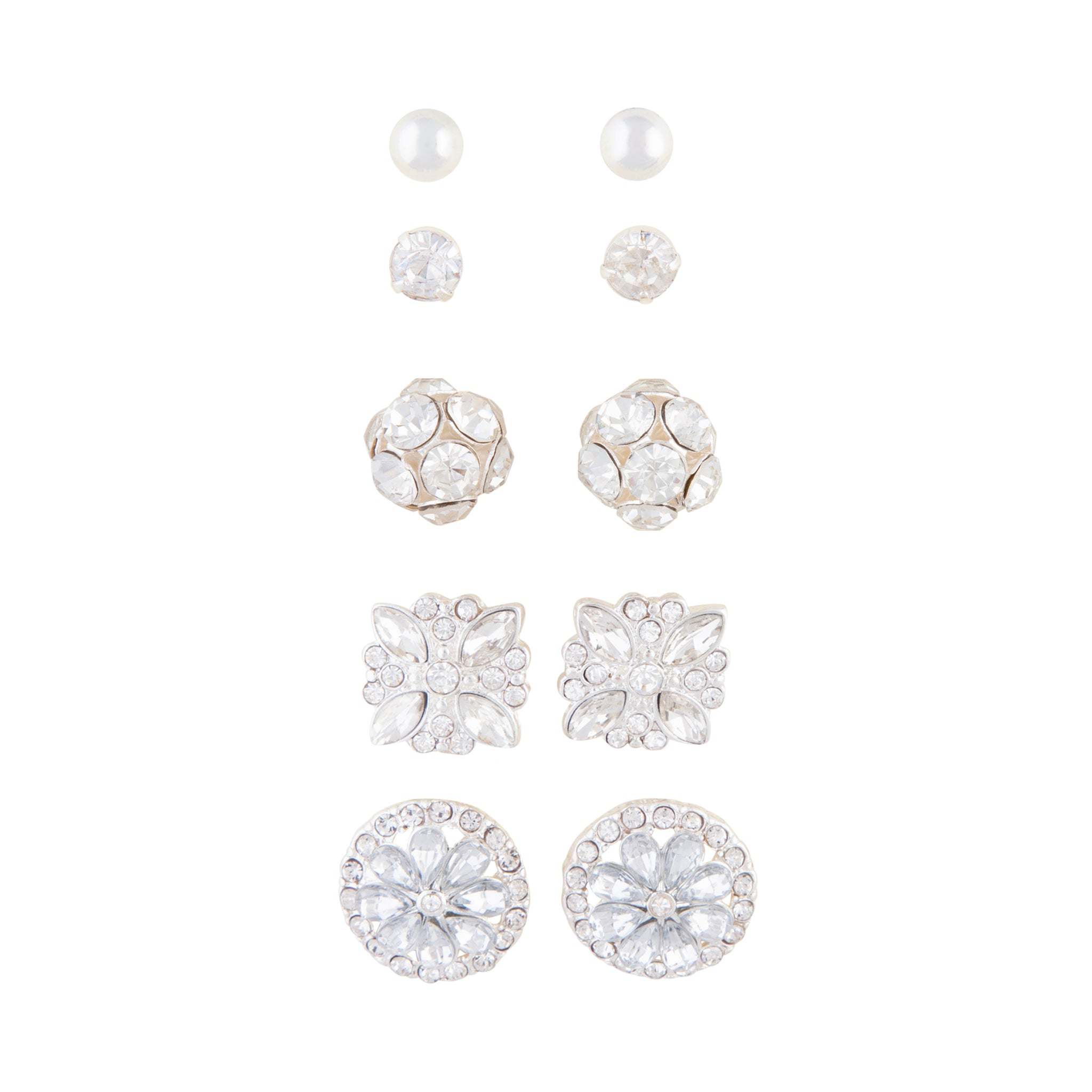 Silver Decorative Diamante 5 Pack Clip Earring