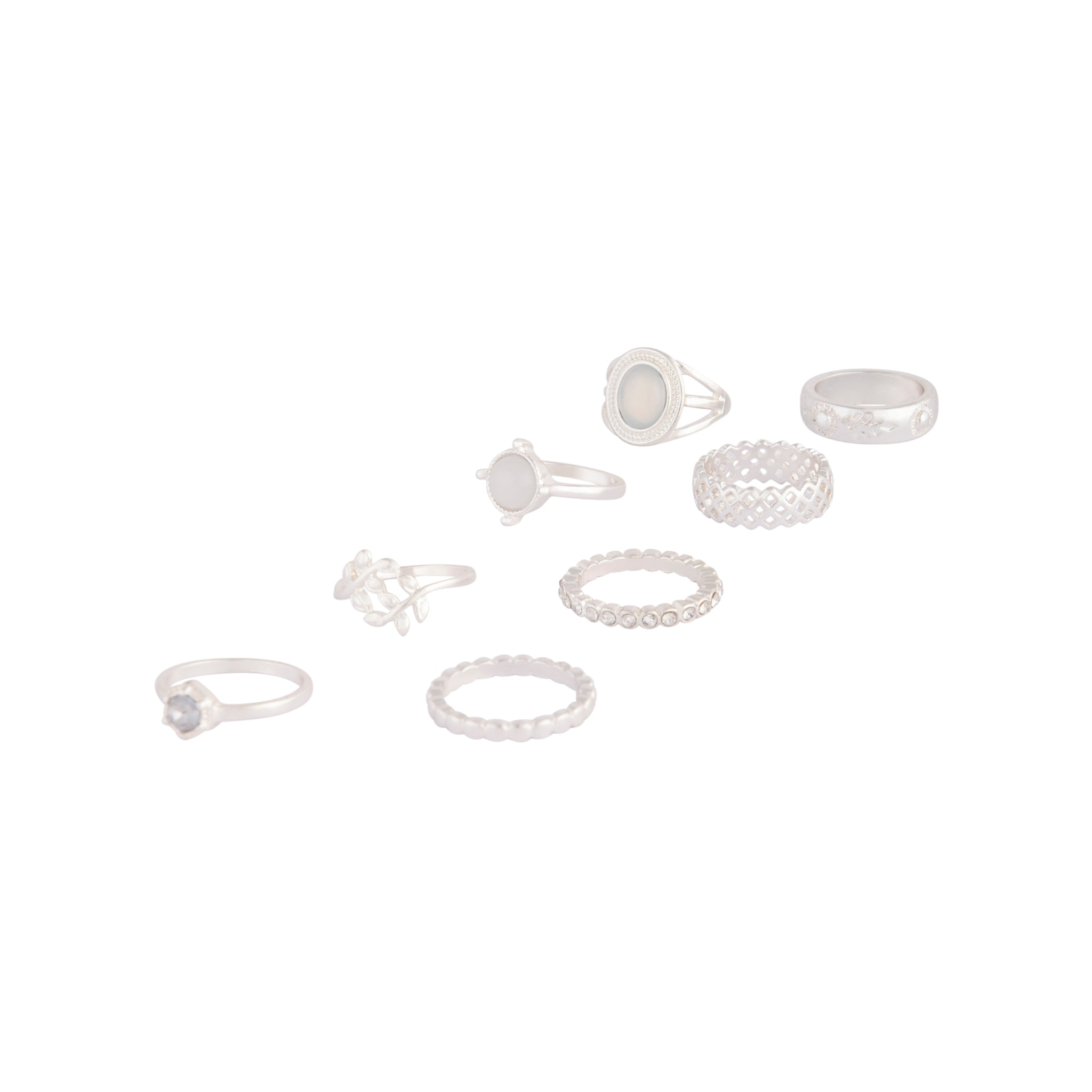 Silver Crosshatch Ring 8 Pack