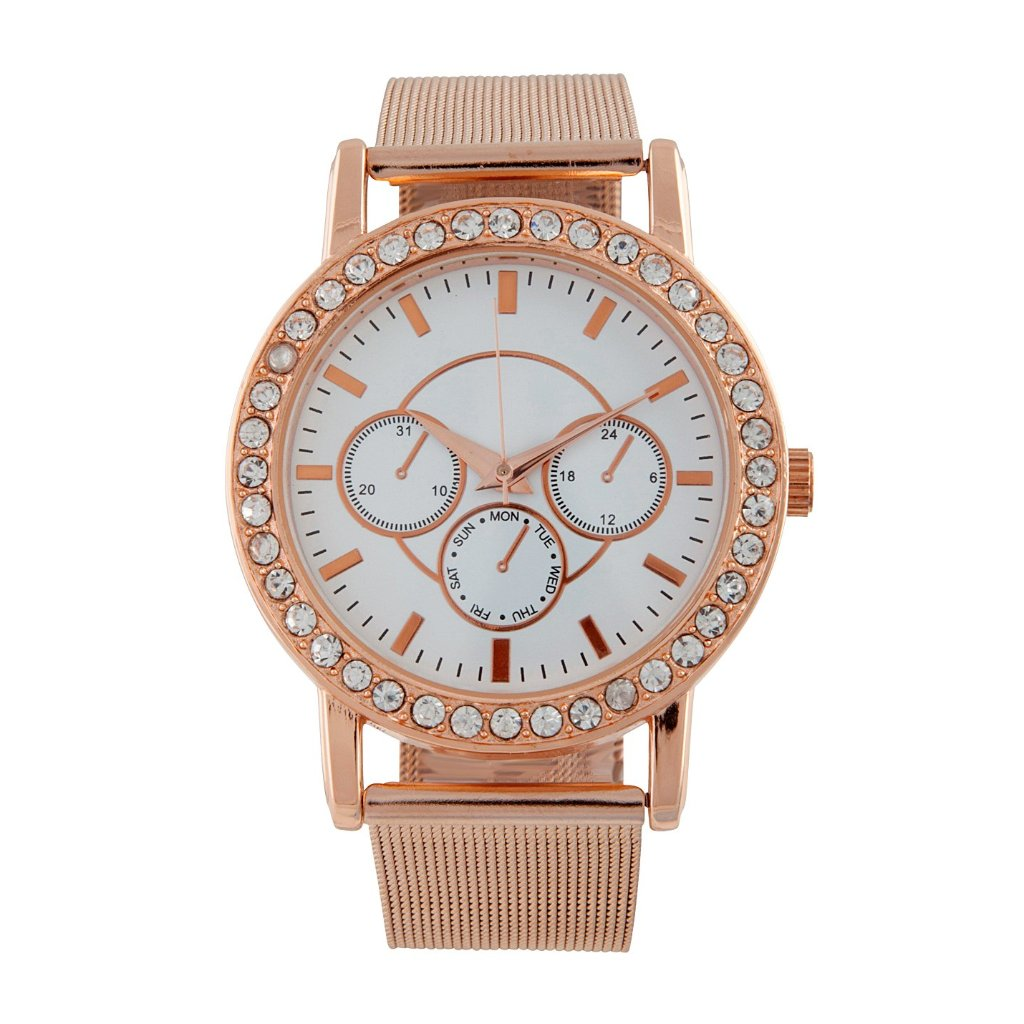 Rose Gold Diamante Surrounded Mesh Strap Watch