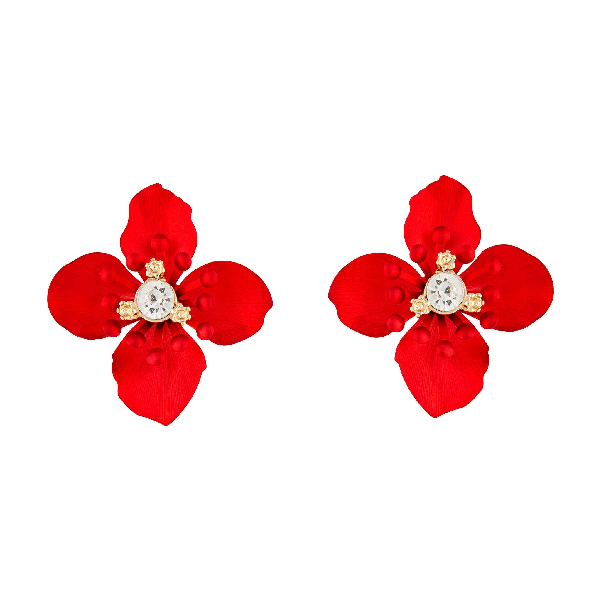 Red Dainty Detailed Petal Stud