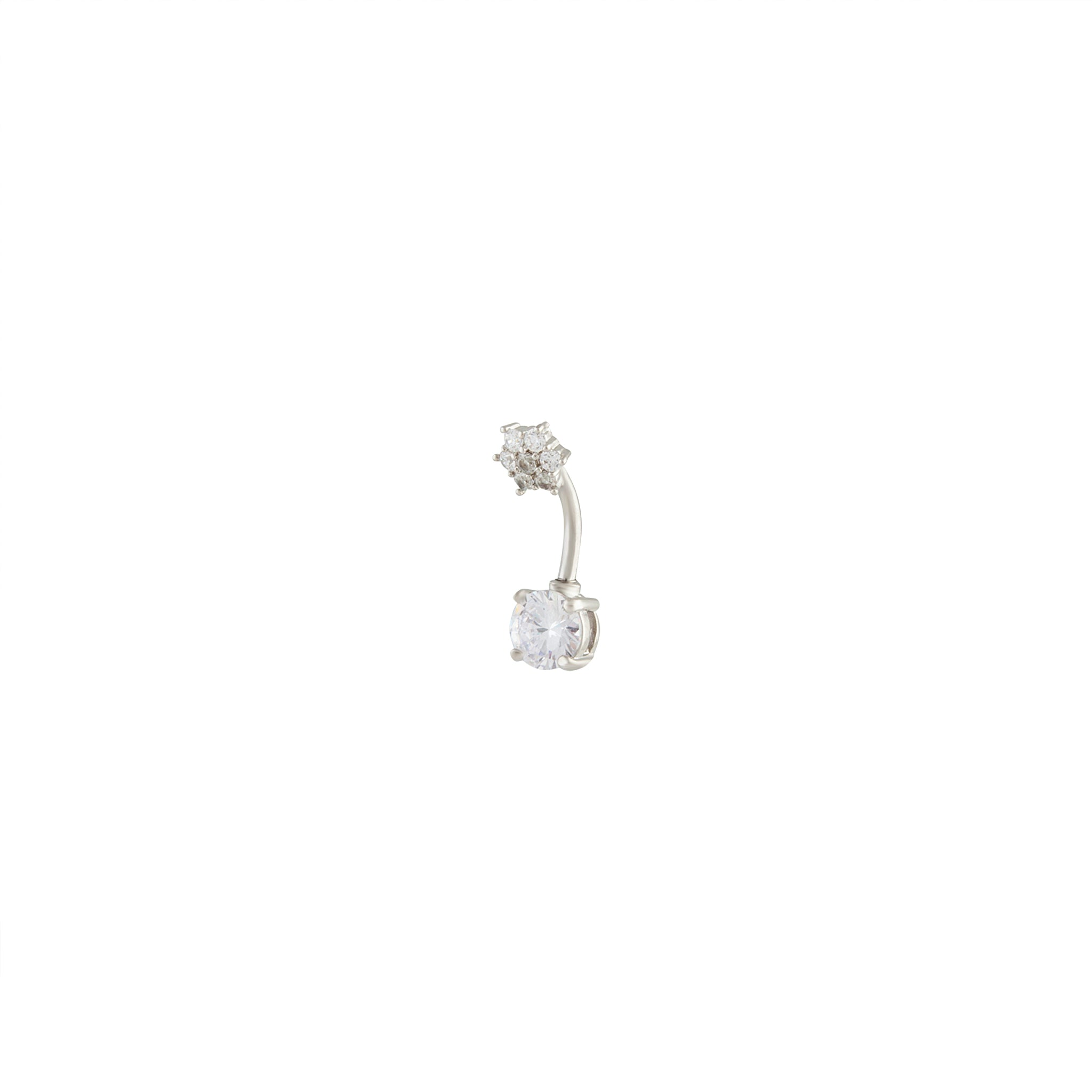 Rhodium Double Cubic Zirconia Flower Belly Bar