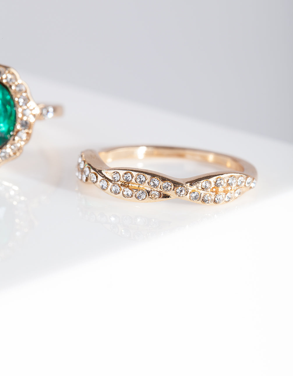 Gold Green Gem Ring Stack