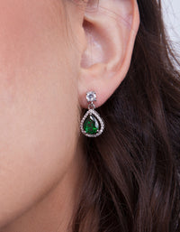 Encircled Mini Emerald Pear Drop Earring - link has visual effect only