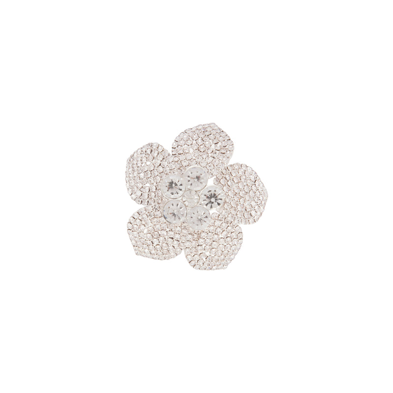 Flower Pave Diamante Brooch