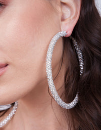 Silver Cup Chain Diamante Hoop Earring - link has visual effect only