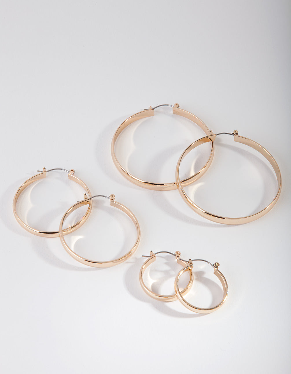 Gold Size Hoop Earring 3 Pack