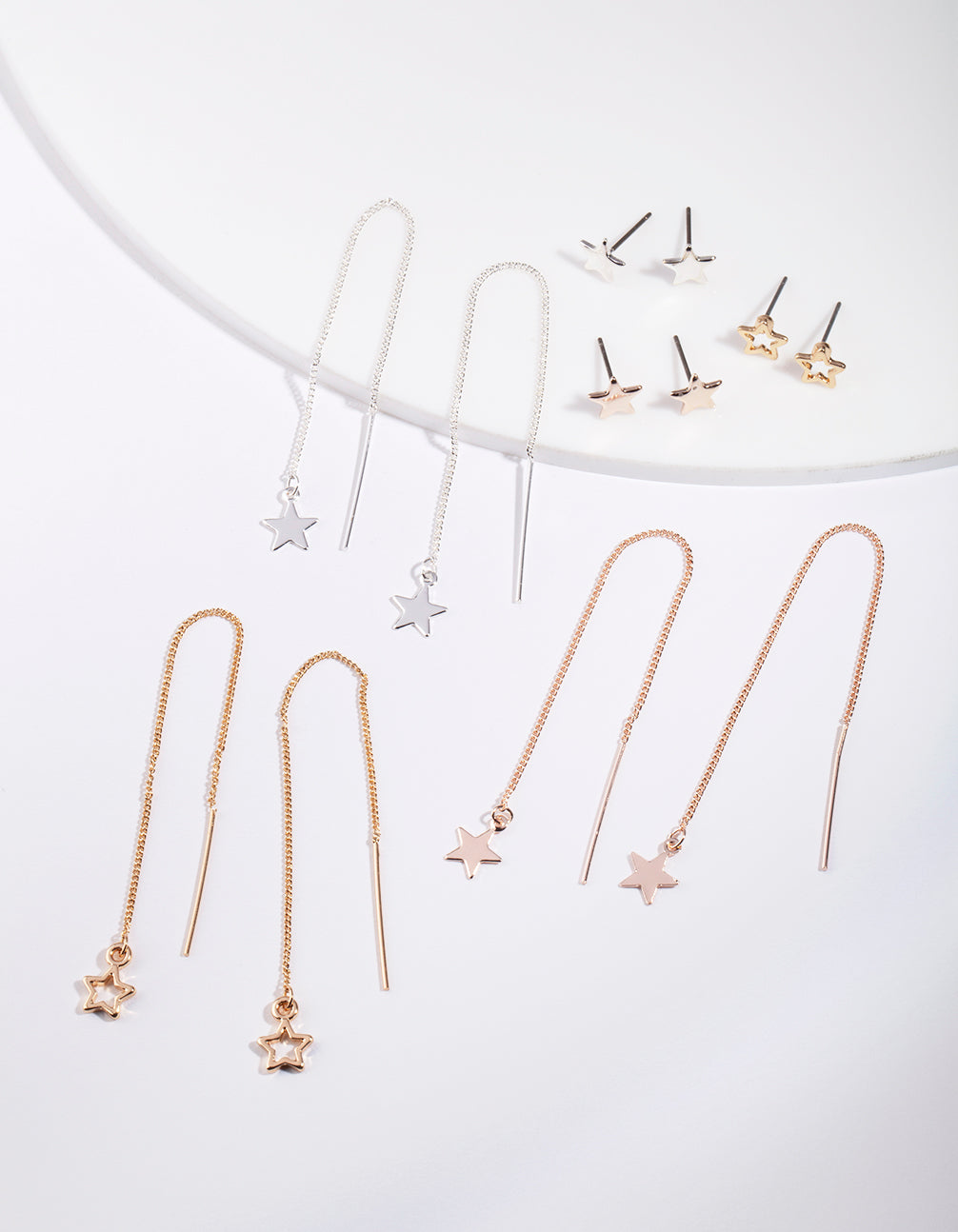 Gold Star Stud Drop Star Earring Pack