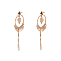 Antique Gold Chain Tassel Earring Coloured Beads
