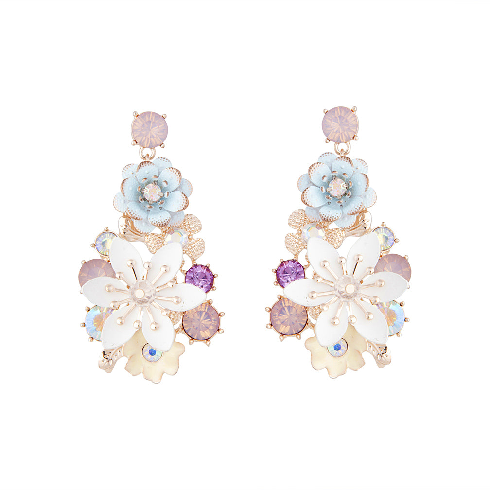Pastel Multi Flower And Diamante Drop Earring