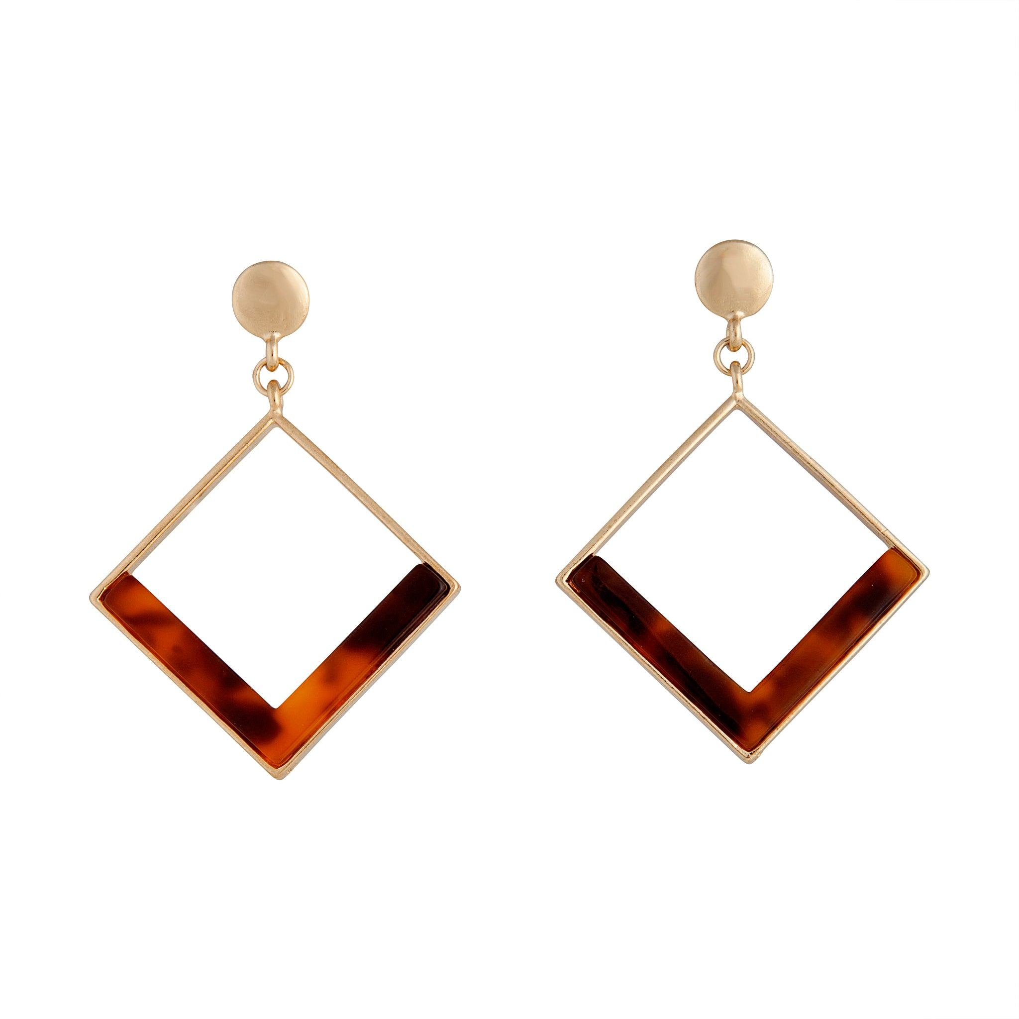Gold Tortoiseshell Open Diamond Acrylic Earring