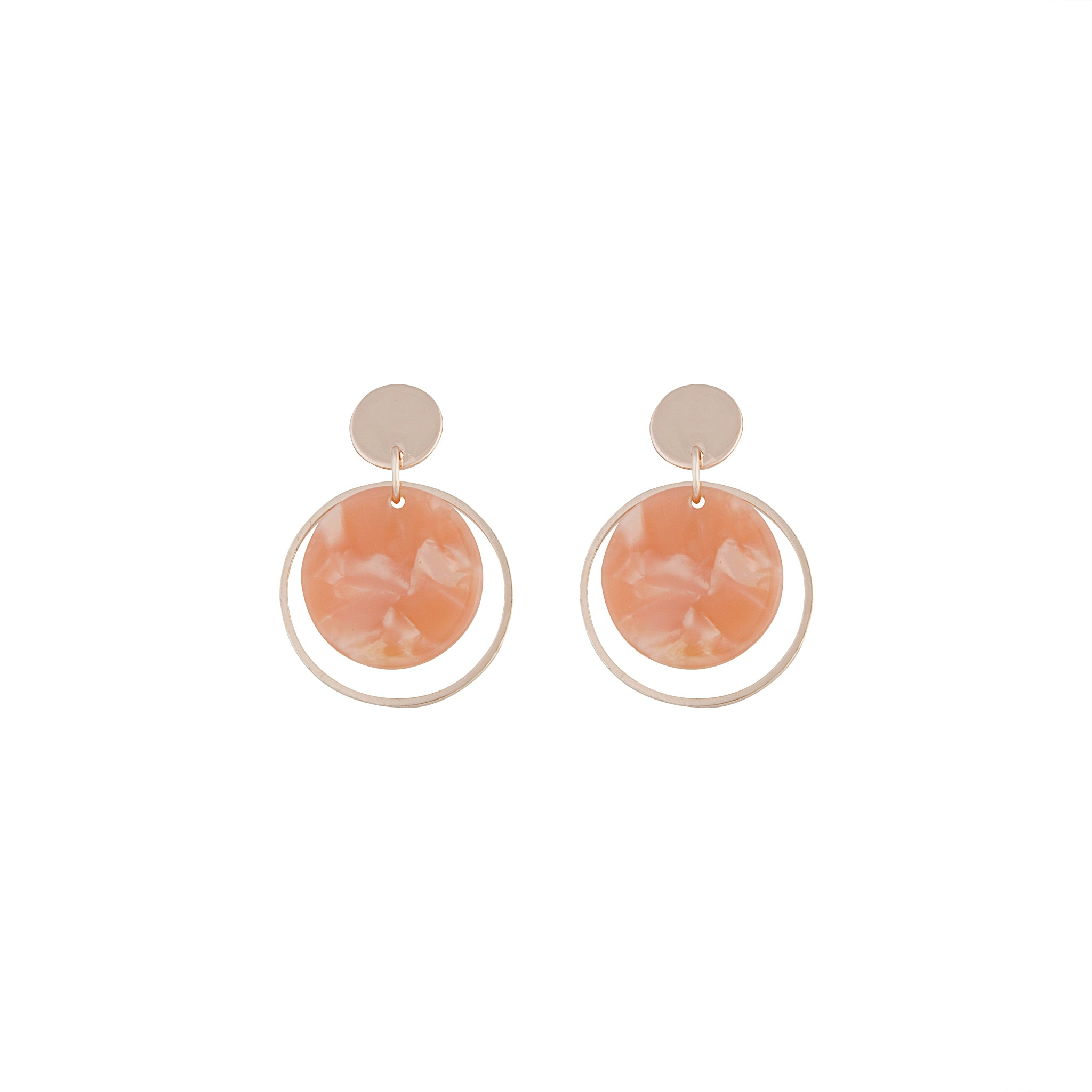 Rose Gold Circle Acrylic Disc Earring