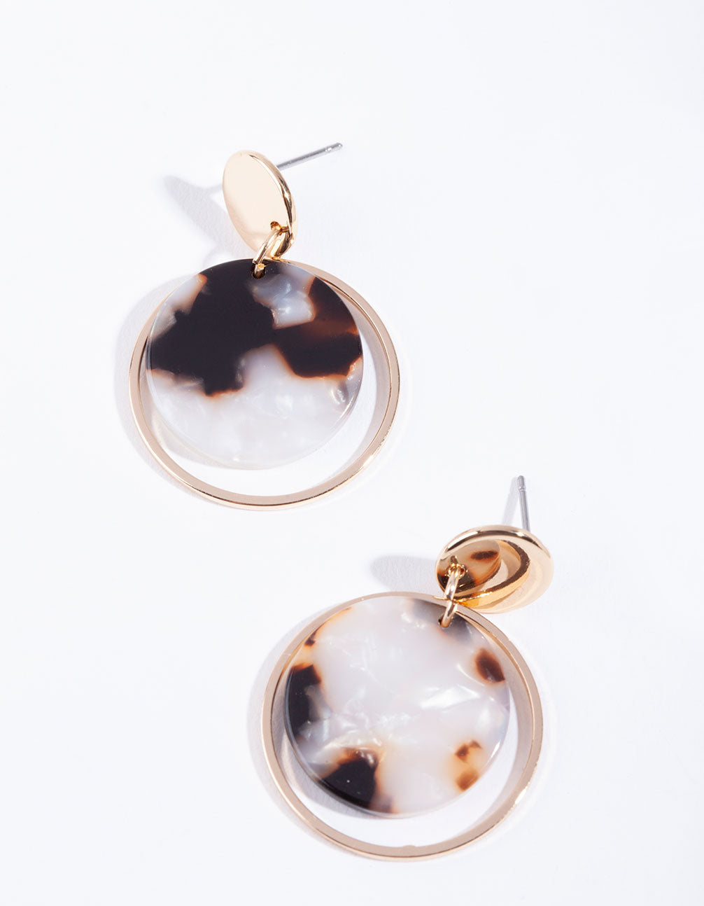 Gold Circle Acrylic Disk Earring