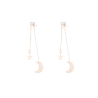 Rose Gold Star Pink Acrylic Moon Earring