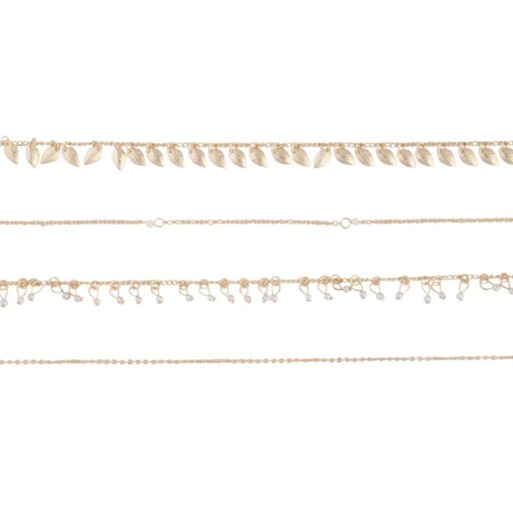 Gold Leaf Jingle Anklet 4 Pack