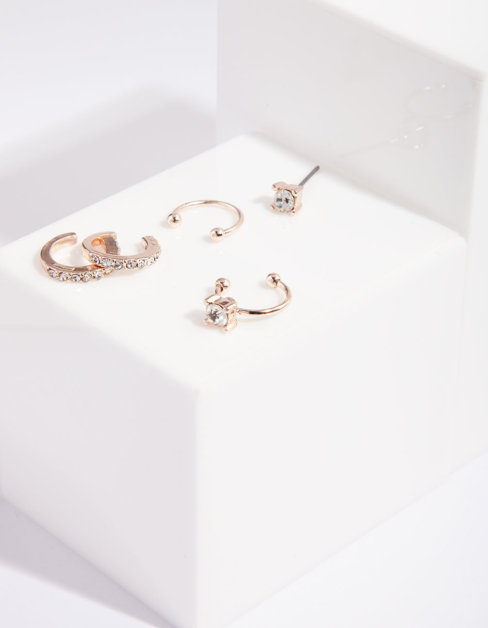 Rose Gold Diamante Cuff Ear Pack