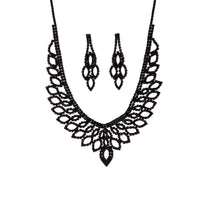 Black Decorative Cup Chain Earring Necklace Set - link has visual effect only