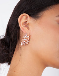 Rose Gold Navette Cluster Stud - link has visual effect only