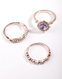 Rose Gold Purple Stone Ring Stack - link has visual effect only